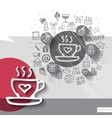 Hand drawn coffee icons with icons background vector image