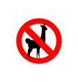 Stop Lama Alpaca Lama is forbidden Frozen wild vector image