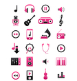 Pink black music icons set vector