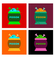 assembly flat icons of potion cauldron vector image