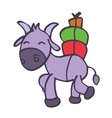 Cute cartoon goat with gift vector image