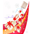 Gift Boxes with Red Ribbon on Beautiful Background vector image