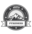 Pyrenees Mountains - Aneto peak round stamp vector image