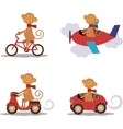 Set - cute monkey with scarf on transport vector image