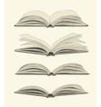 Set of vintage open books vector image