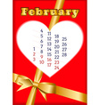 Valentine calendar for February 2013 vector image