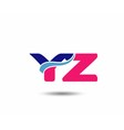 Letter y and z logo vector image