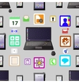 Laptop smartphone tablet and labels Seamless vector image