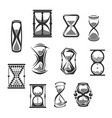 hourglass sandglass sand clock or watch icon set vector image