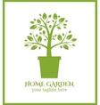 Home garden label tree in pot logo vector image vector image