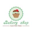 Gluten free bakery shop logo Cute cupcake on vector image