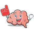 foam finger brain character cartoon mascot vector image