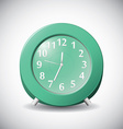 Green realistic 12 hour analog clock on grey vector image
