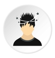 Male avatar and stars from blow icon flat style vector image