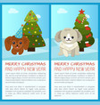 merry christmas pine tree set vector image
