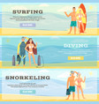 set of beach horizontal banners in flat vector image