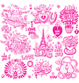 Set of hand drawn love sketchy vector image