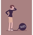 Businesswoman chained with a weight Taxes vector image