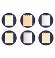 icon of notebook in six variations on the dark vector image