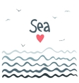 Marine horizontal background with waves vector image