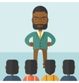 Angry black boss facing at his employees vector image