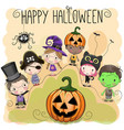 cute halloween with kids vector image