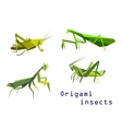 Green origami grasshoppers and mantis vector image