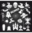 Popular halloween elements set on chalkboard vector image