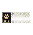 the graphic calendar for 2018 new year with dog vector image