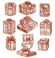 hand drawn gift set vector image