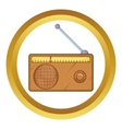 Brown retro style radio receiver icon vector image