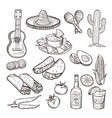 fast food and other mexican culture elements vector image