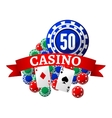 Casino icon with playing chips cards and ribbon vector image