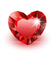 Diamond red heart vector image vector image