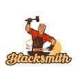 blacksmith logo anvil or smithy icon vector image