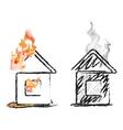 burning house vector image