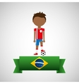 cartoon football player brazilian label vector image