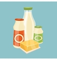 Dairy products isolated on blue background vector image