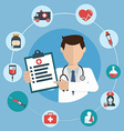 Doctor with medical icons in a circle vector image