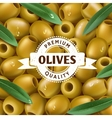 Realistic Green olives background with a leafs vector image