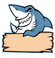 shark hold wood sign vector image