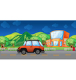 A car passing at the school vector image vector image