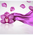 Orchid Flower on a Background Fabric Folds vector image vector image