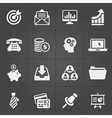Business and finance icons on black set 2 vector image vector image