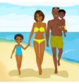 african american family walking happy along beach vector image