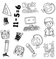 hand drawn doodle with education items vector image