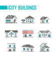 nine low-storey city buildings set of icons - vector image