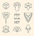 polygon birds set on beige background vector image