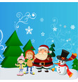 santa claus with kid in christmas snow scene vector image