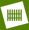 fence simple sign  white icon obtained as vector image